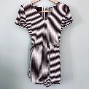 Zara Brown & White Striped Romper-Size Medium